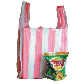 Medium Stripy Light Duty Carrier Bag